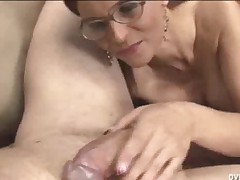 Hot mature women stoke big hard cocks with milking handjobs.